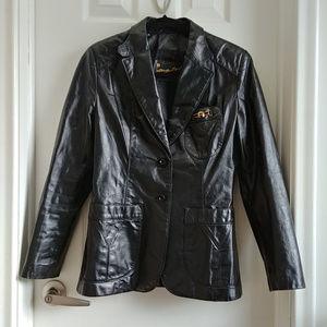Etienne Aigner Leather Jacket Button Blazer Small